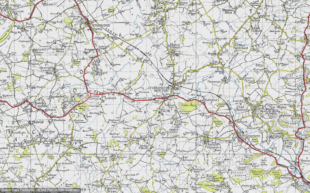 Old Map of Historic Map covering Bagber Common in 1945