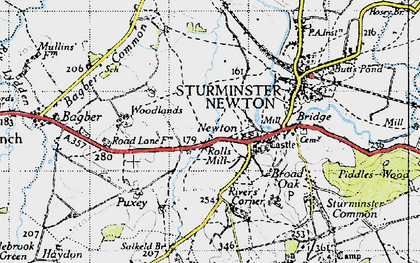 Old map of Bagber Common in 1945