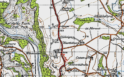 Old map of Winscote Hills in 1946