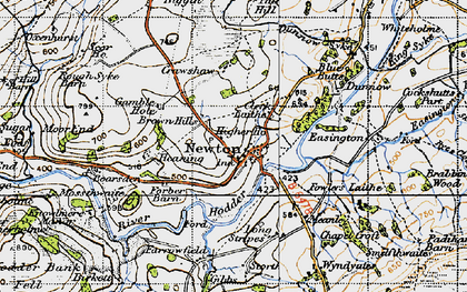 Old map of Newton-in-Bowland in 1947