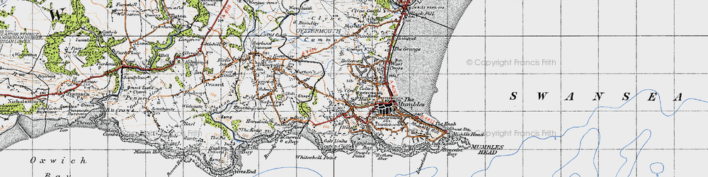 Old map of Newton in 1947