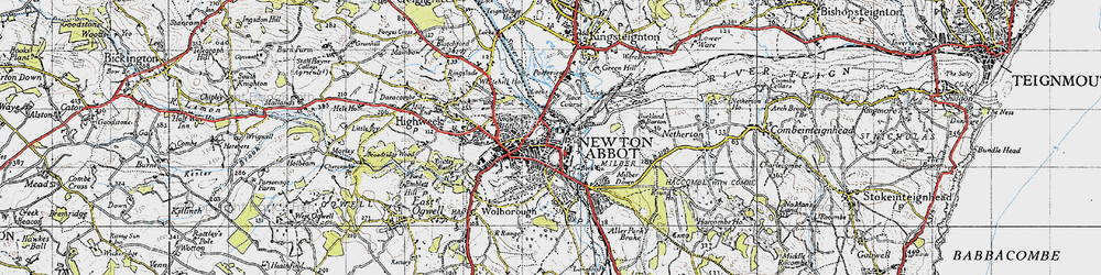 Old map of Newton Abbot in 1946