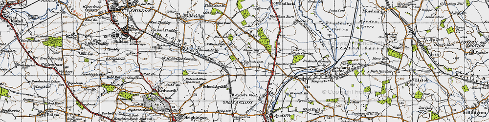 Old map of Newton Aycliffe in 1947