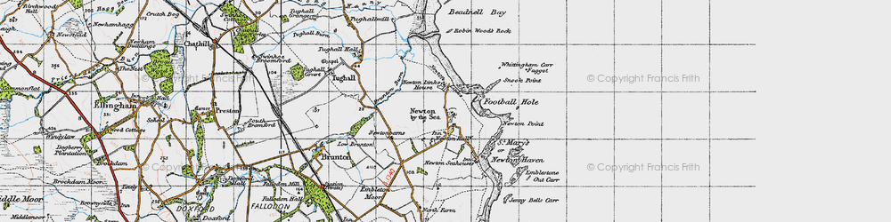 Old map of Whittingham Carr in 1947