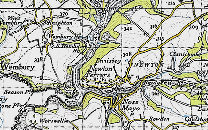 Old map of Newton Ferrers in 1946