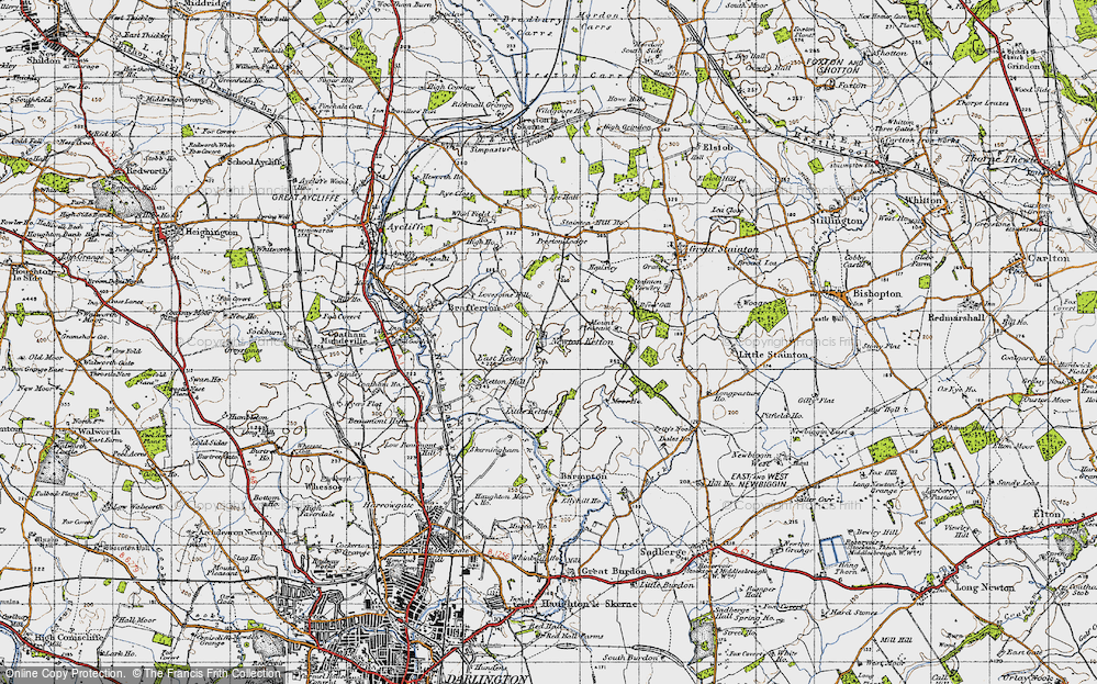 Old Map of Historic Map covering Lea Hall in 1947