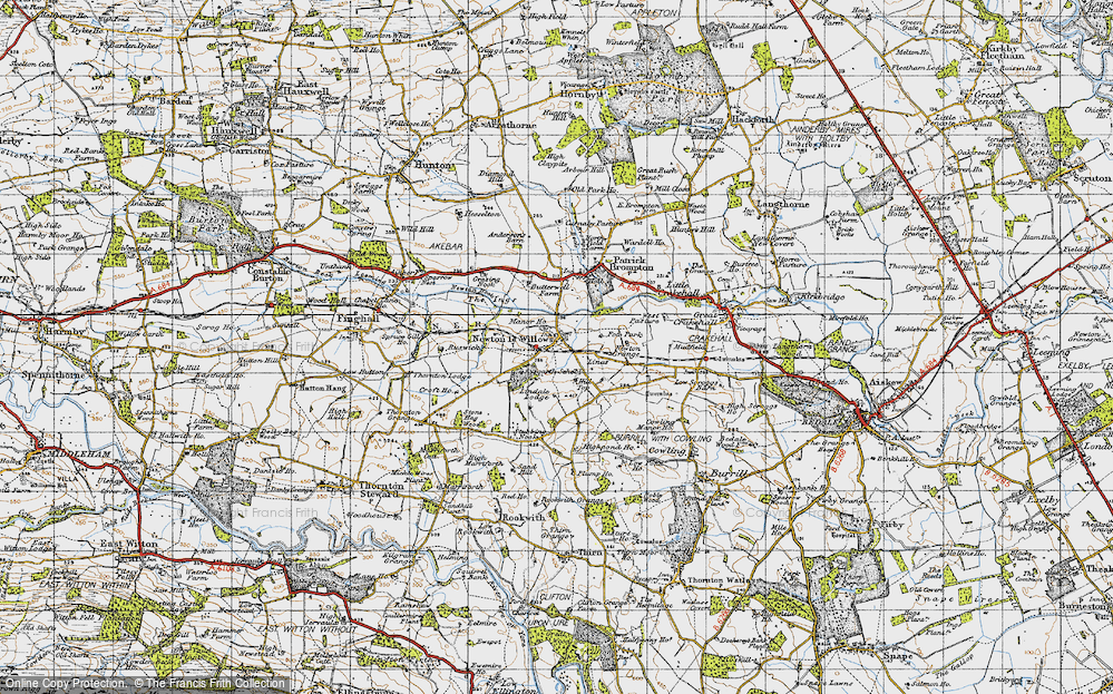 Old Map of Historic Map covering Aysgarth School in 1947