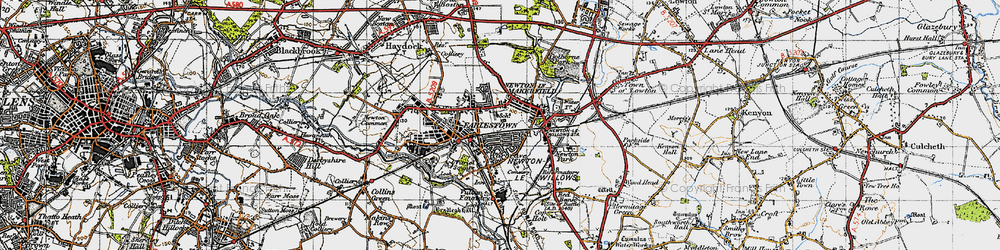 Old map of Newton-le-Willows in 1947