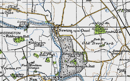 Old map of Widdington Grange in 1947