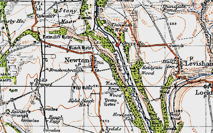 Old map of Yorfalls Wood in 1947