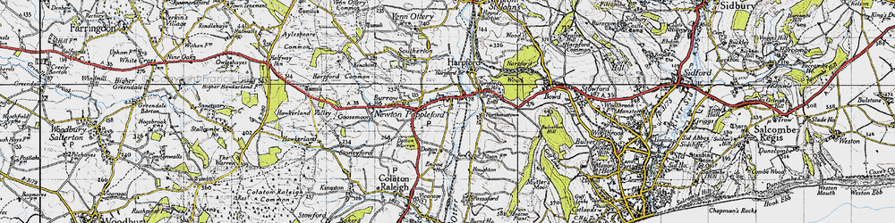 Old map of Newton Poppleford in 1946