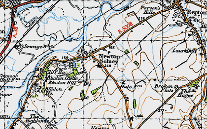 Old map of Newton Solney in 1946