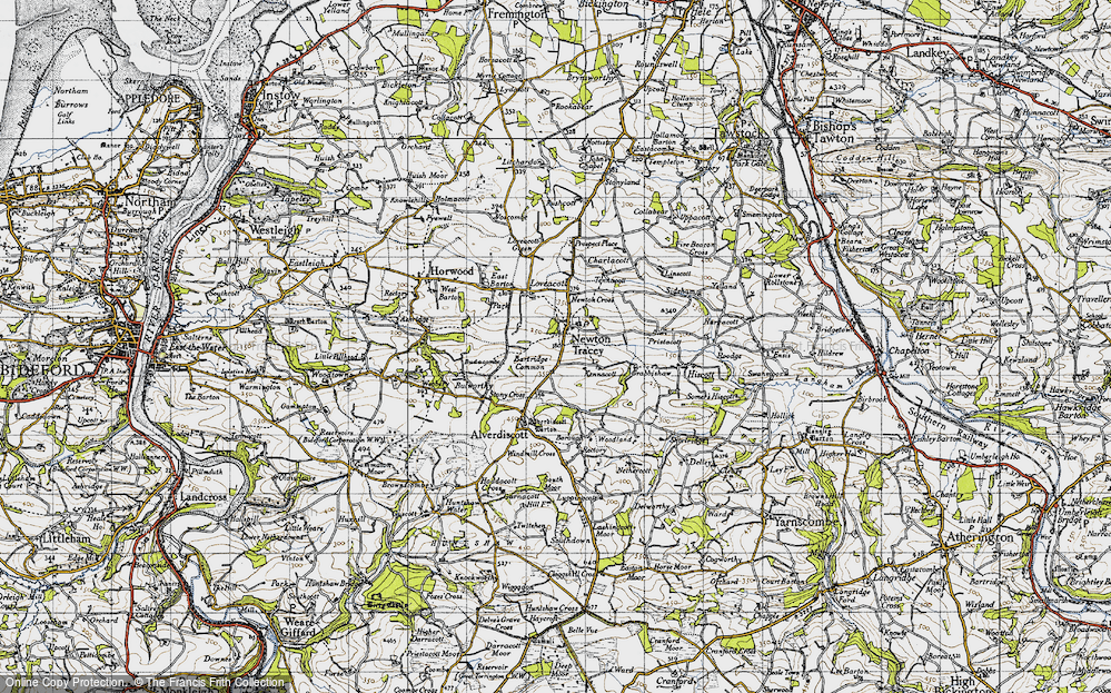Old Map of Historic Map covering Alscott Barton in 1946