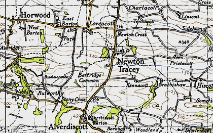 Old map of Alscott Barton in 1946