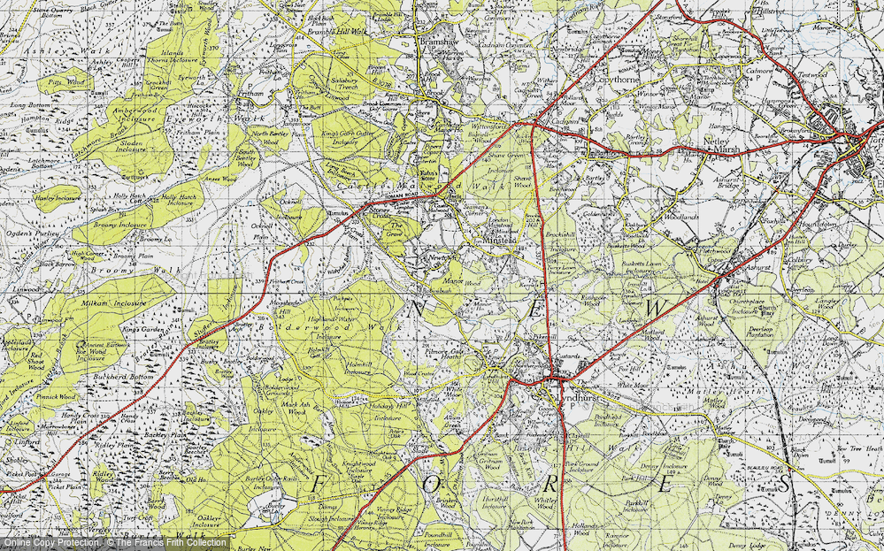 Old Map of Historic Map covering Acres Down Ho in 1940