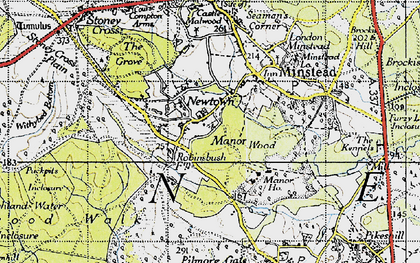 Old map of Acres Down Ho in 1940