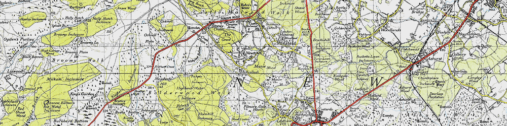 Old map of Wick Wood in 1940
