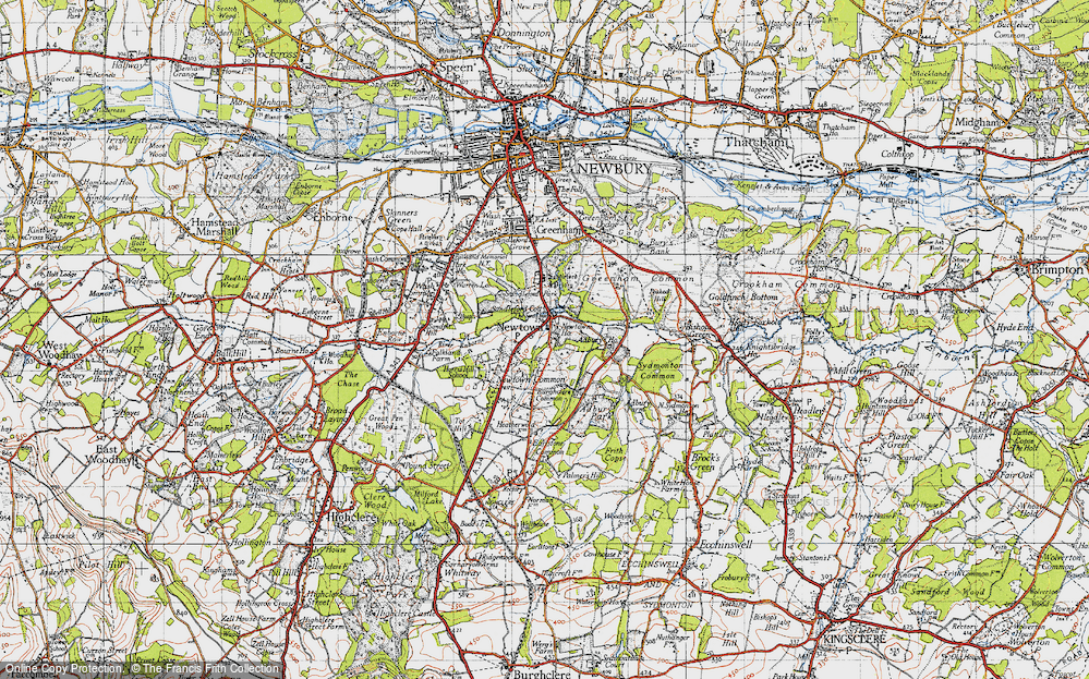 Old Map of Historic Map covering Adbury Ho in 1945