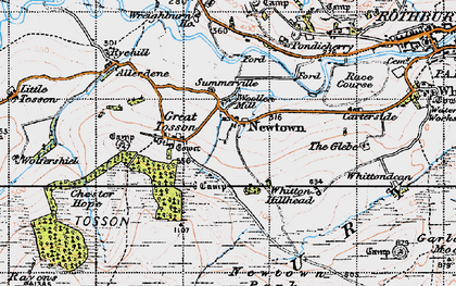 Old map of Whitton Hillhead in 1947
