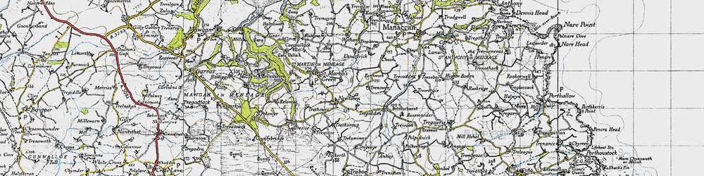Old map of Withan in 1946