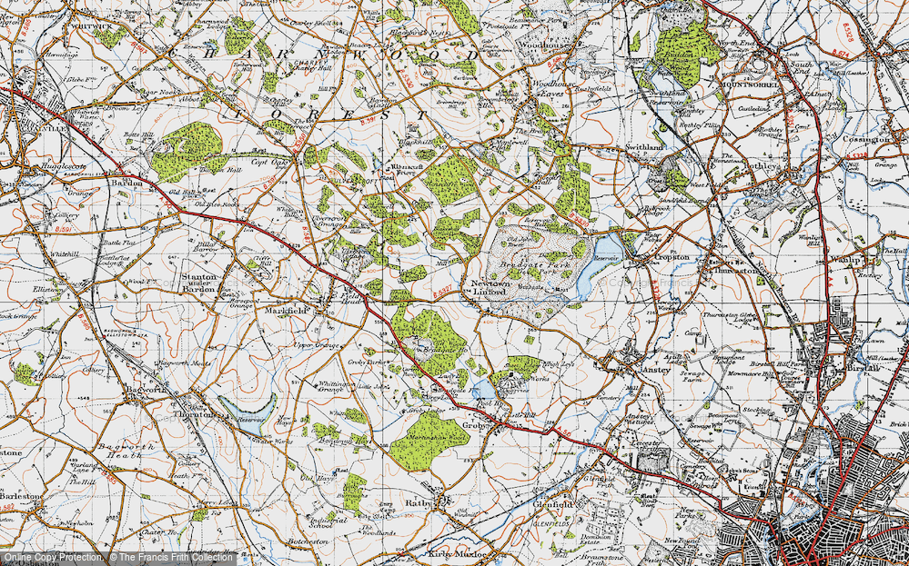 Old Map of Historic Map covering Lea Wood in 1946