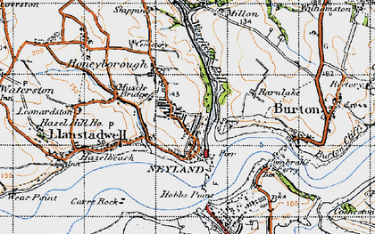 Old map of Neyland in 1946