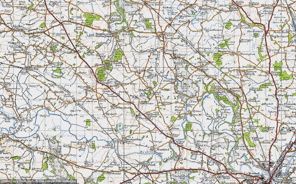 Old Map of Historic Map covering Little Ensdon in 1947