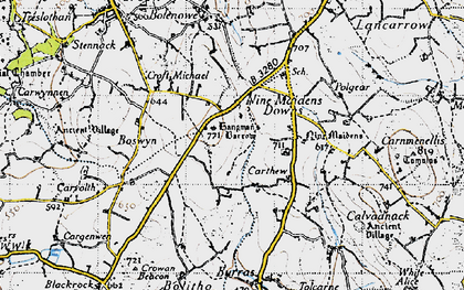 Old map of Nine Maidens Downs in 1946