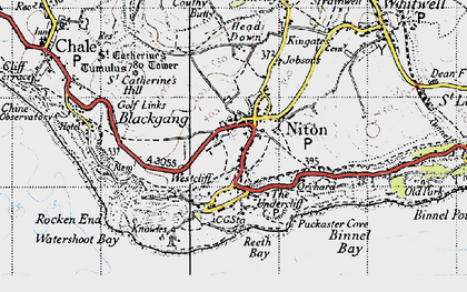 Old map of Niton in 1945