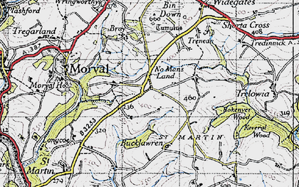 Old map of No Man's Land in 1946