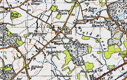 Old map of Noak Hill in 1946