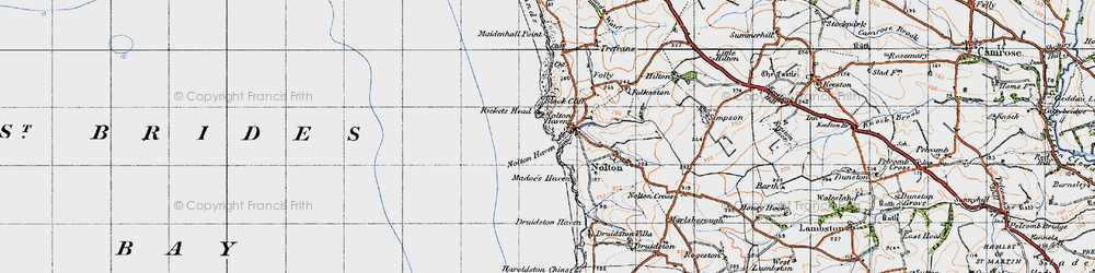 Old map of Nolton Haven in 1946