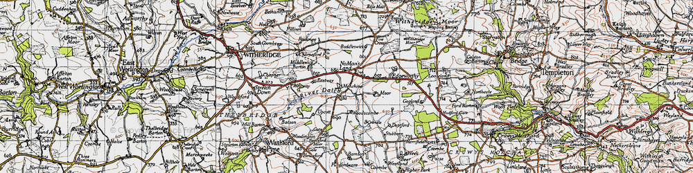 Old map of Woodscombe in 1946