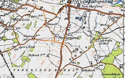 Old map of Nomansland in 1946