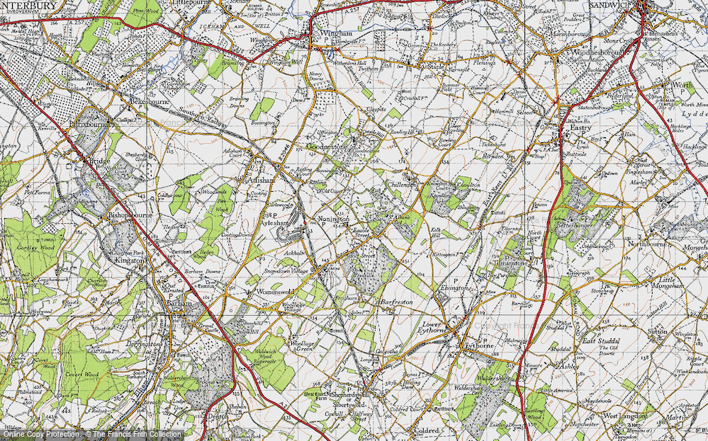 Old Map of Nonington, 1947 in 1947