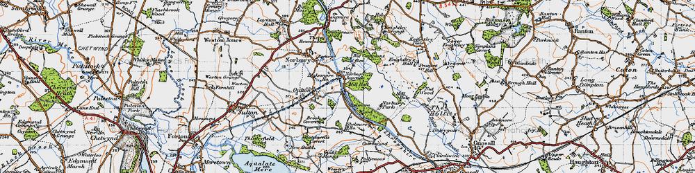 Old map of Norbury Junction in 1946