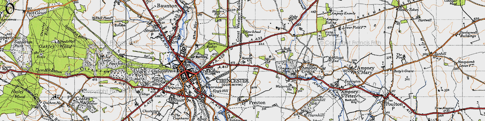 Old map of Yellow School Copse in 1947