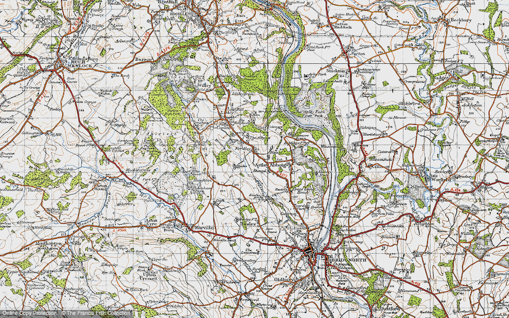 Old Map of Historic Map covering Albynes, The in 1946