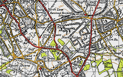 Old map of Nork in 1945