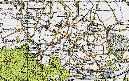 Old map of Norley in 1947