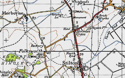 Old map of Norman Cross in 1946