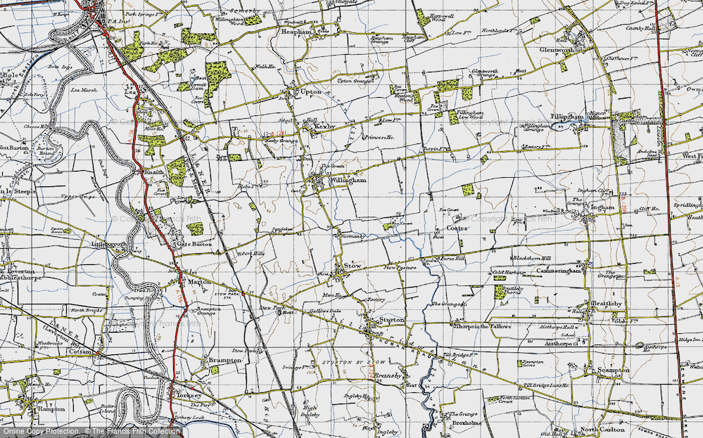 Old Map of Normanby by Stow, 1947 in 1947