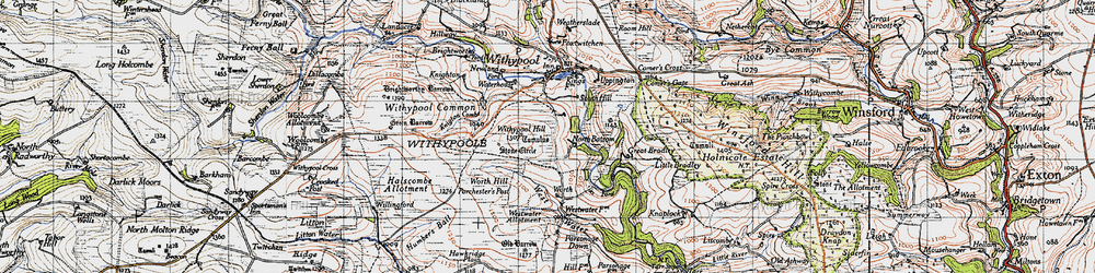 Old map of Withypool Hill in 1946