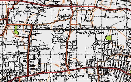 Old map of North Benfleet in 1945