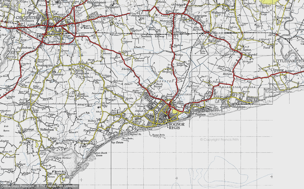 Old Map of Historic Map covering Aldingbourne Rife in 1945