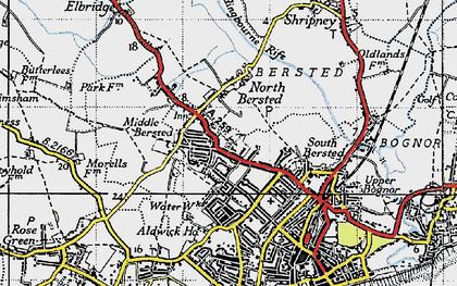 Old map of Aldingbourne Rife in 1945