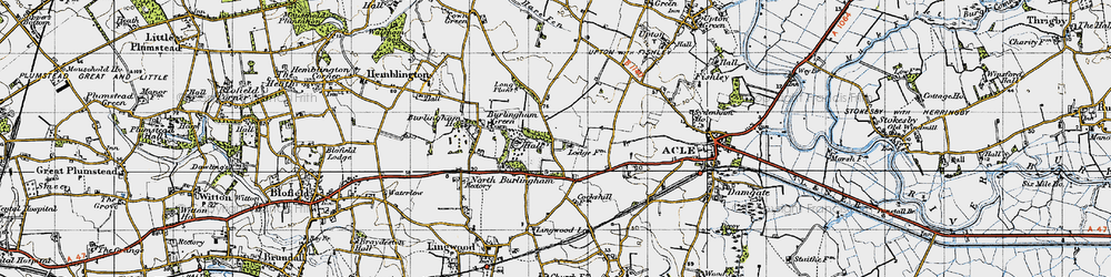 Old map of Acle Hall in 1945