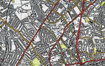 Old map of North Cheam in 1945