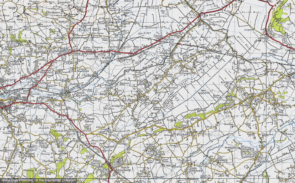 Old Map of North Curry, 1945 in 1945