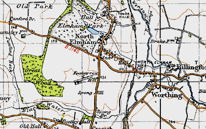 Old map of North Elmham in 1946